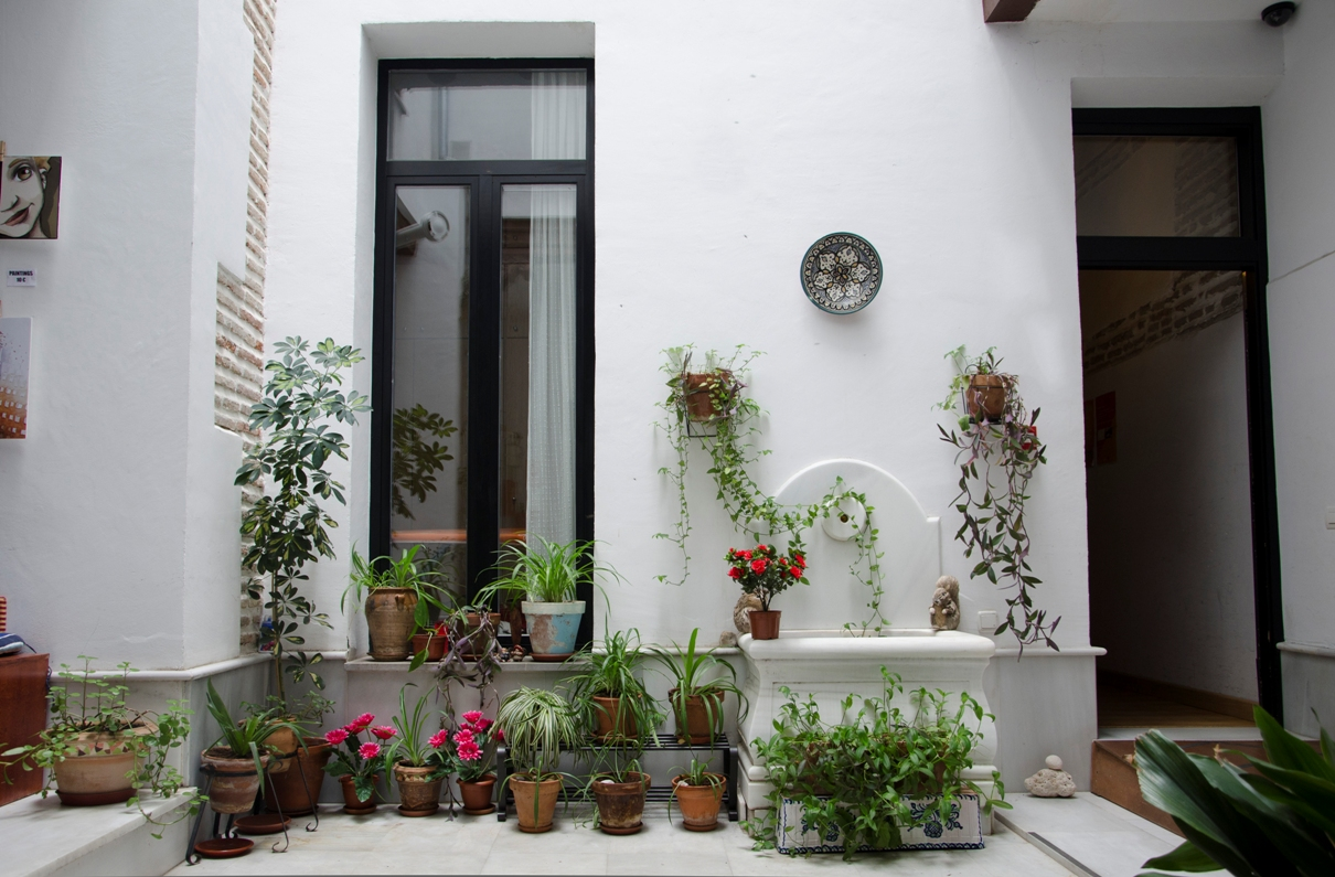 Typical Andalusian patio of el granado hostel, with plants and a fountain